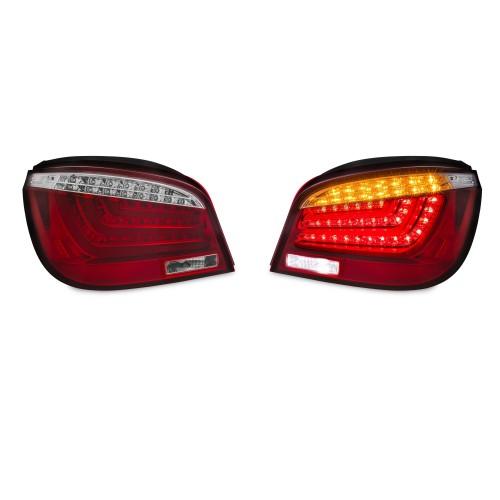 Rückleuchten mit LED Lightbar, Klar/ Rot passend für BMW E60 Limo 03-07