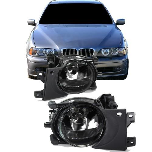Nebelscheinwerfer Set, Nebelscheinwerfersatz inklusive Leuchtmittel H8, Klarglas/schwarz passend für BMW E39 Facelift, Bj. 2000-2004