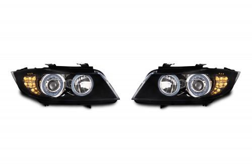 AE-Design Scheinwerfer mit Halogenringen und LED Blinkern passend für BMW 3er E90 Limousine und E91 Touring Bj. 9.05-1.09