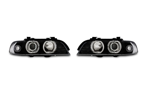 AE-Design Headlights with LED rings suitable for BMW 5