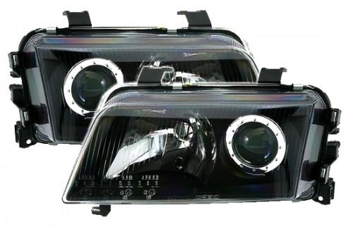 AE-Design Scheinwerfer mit  Halogen Ringen passend für Audi A4 B5 Bj. 11.94-01.99