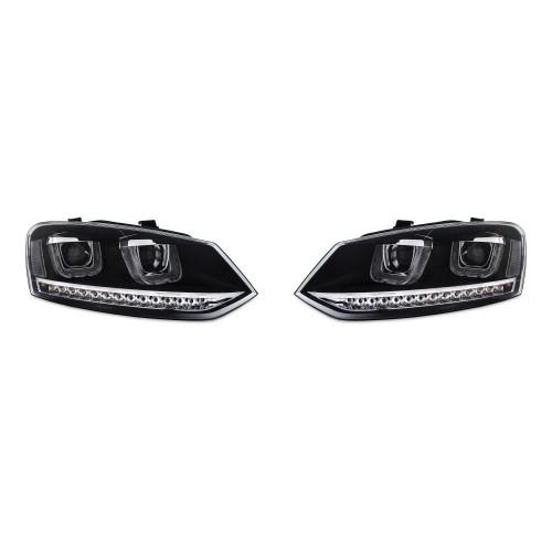 Tagfahrlicht Design Scheinwerfer schwarz LED Blinker passend für VW Polo 6R Baujahr 03.2009-04.2014