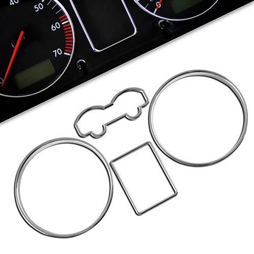 Tachochromringe, 4-teilig passend für VW Golf 4 und Bora