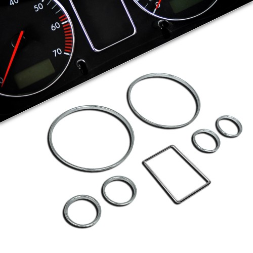 Tacho Chromringe, 7-teilig passend für Audi A4 und A6 (B5)
