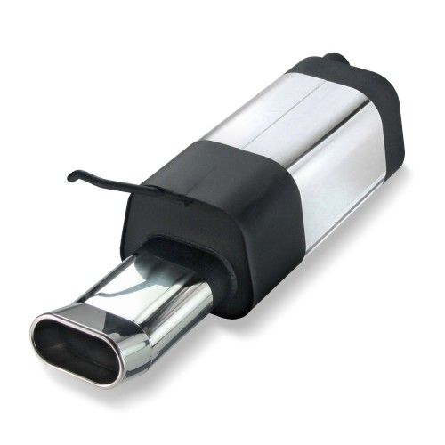 Stainless steel muffler with oval DTM-Look tailpipe suitable for Audi A3 8L, VW Golf 4 1J, VW Beetle and Seat Leon 1M