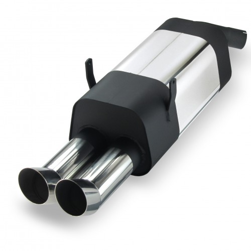 Stainless steel rear muffler with 2x 76mm tailpipes DTM-Look suitable for BMW 3 series E36 4 cylinders 316i and 318i