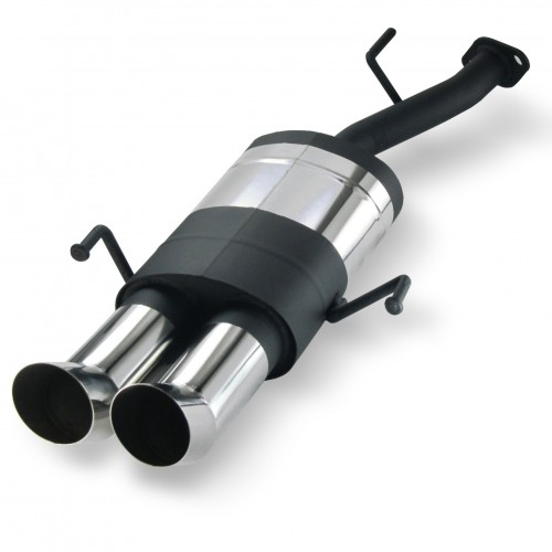 Stainless steel rear muffler with 2x 76mm tailpipes DTM-Look suitable for Opel Astra G CC 1,4-2,2l