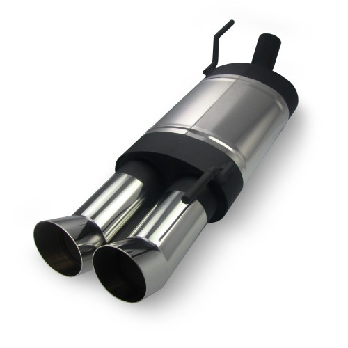 Stainless steel muffler, VW Polo 6N/ 6N2, 2x76 DTM look, approved