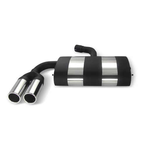 Stainless steel rear Exhaust box with 2x 76mm tailpipes straight suitable for VW Golf 5 and Golf 5 Plus