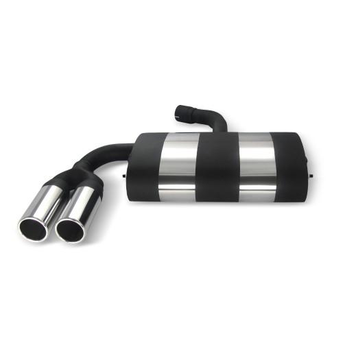 Edelstahl-Endschalldämpfer mit 2x 76mm Endrohren gerade passend für VW Golf 5 und Golf 5 Plus