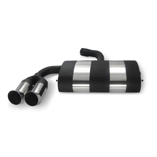 Edelstahl-Endschalldämpfer mit 2x 76mm DTM-Look Endrohren passend für VW Golf 5 und Golf 5 Plus