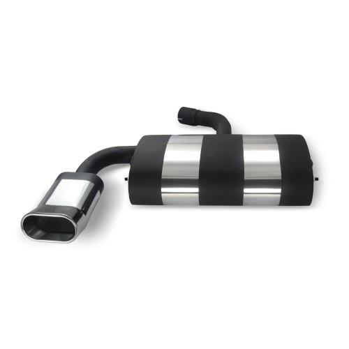 Edelstahl-Endschalldämpfer mit oval DTM-Look Endrohr passend für VW Golf 5 und Golf 5 Plus