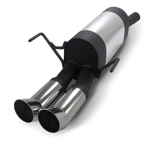 Stainless steel rear muffler with 2x 76mm tailpipes DTM-Look suitable for Opel Astra H