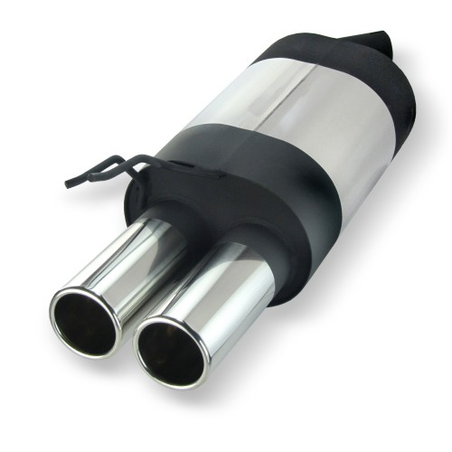 Stainless steel rear Exhaust box with 2x 76mm tailpipes straight suitable for Renault Twingo 1