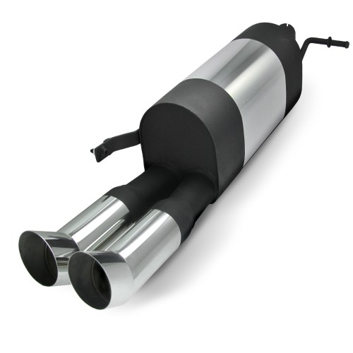 Stainless steel rear muffler with 2x 76mm tailpipes DTM-Look suitable for VW Polo 9N and 9N3