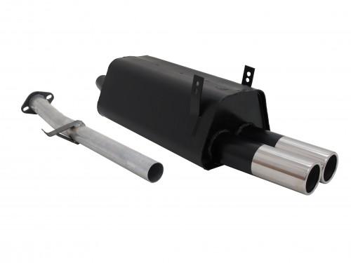 Endschalldämpfer, 2 x 76 mm, rund, gerade, mit ABE passend für BMW E36 316i/318i, nicht für Compact