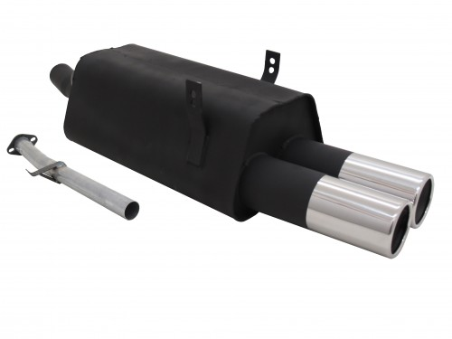 Steel rear muffler with 2x 90mm tailpipes straight suitable for BMW 3series E36 316i and 318i