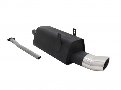 Steel rear muffler with oval tailpipes DTM-Look suitable for BMW 3 series E36 320i and 323i
