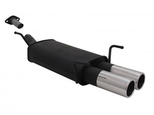 Stahl Endschalldämpfer mit 2x 76mm Endrohren gerade passend für Opel Astra G CC Fließheck Bj. 03.98 - 03.04
