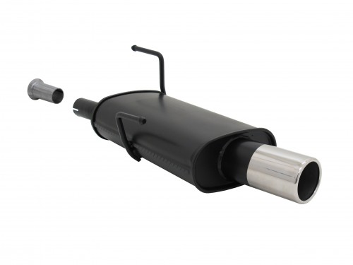 Steel rear muffler with 90mm tailpipes straight suitable for Peugeot 206 and 206 CC