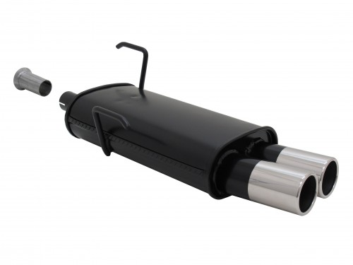 Steel rear muffler with 2x 76mm tailpipes straight suitable for Peugeot 206 and 206 CC
