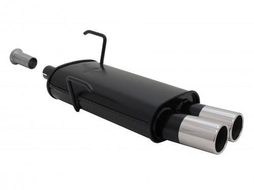 Stahl Endschalldämpfer mit 2x 76mm Endrohren gerade passend für Peugeot 206 und 206 CC