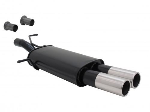 Stahl Endschalldämpfer mit 2x 76mm Endrohren gerade passend für Peugeot 307 und Citroen C4