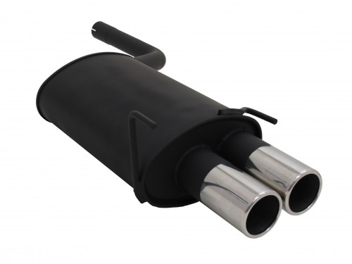 Steel rear muffler with 2x 90mm tailpipes straight suitable for Mercedes C-Klasse W202 and W208