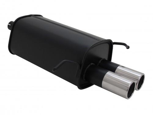 Endschalldämpfer, 2 x 76 mm, rund, mit ABE passend für Mercedes C180 / C200K / C220 / C240, (W203/203K), 05/00-