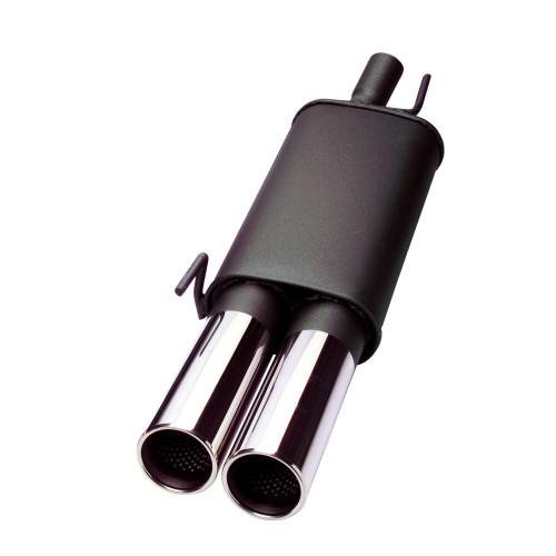 Endschalldämpfer, 2 x 90 rund, Stoßstangenausschnitt muss vergrößert werden, mit ABE passend für Mercedes C200CLK / C230CLK , (W208), Stoßstangenausschnitt muss vergrößert werden