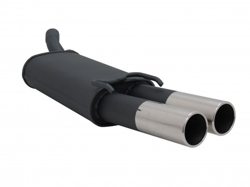 Steel rear muffler with 2x 76mm tailpipes straight suitable for Opel Tigra A