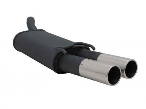 Stahl Endschalldämpfer mit 2x 76mm Endrohren gerade passend für Opel Tigra A