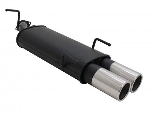 Endschalldämpfer, 2 x 90 mm rund, gerade, mit ABE passend für Opel Vectra B Limo/Caravan 1,6 / 1,8 / 2,0 / 2,0 Diesel, nicht für Sport, Caravan -03/99, ohne AHK u. 2,0 16V