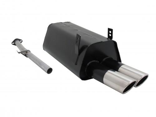 Endschalldämpfer, 2 x 76 mm, SR-Design, mit ABE passend für BMW E36 316i/ 318i,