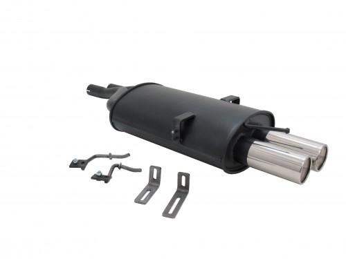 Endschalldämpfer, 2 x 76 mm, SR-Design, mit ABE passend für BMW E46 Limo/ Coupe/ g 330d/ 330Xd/ 320i/ 320Ci/ 325i/ 325Ci/ 330i/ 330 Ci ab Bj. 2001 nur mit 2 Eingangsrohren
