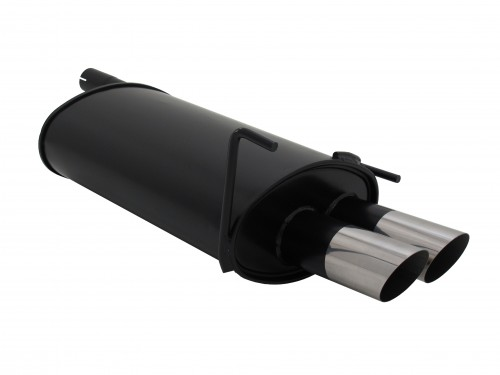 Muffler, Mercedes C classe W202 C180/ C200/ C220/ C240/ C200D/ C200K/ C230K, up to 2000, 2 x 76 mm MS design, approved (ABE)