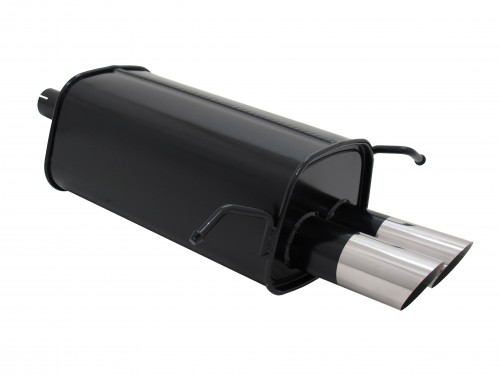 Muffler, Mercedes C class W203/203K C180/ C200K/ C220/ C240, all from 05/2000, 2 x 76 mm MS design, approved (ABE)