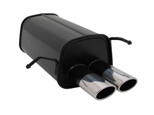 Muffler, Mercedes C class W203/203K C180/ C200K/ C220/ C240, all from 05/2000, 2 x 85/58 mm, approved (ABE)