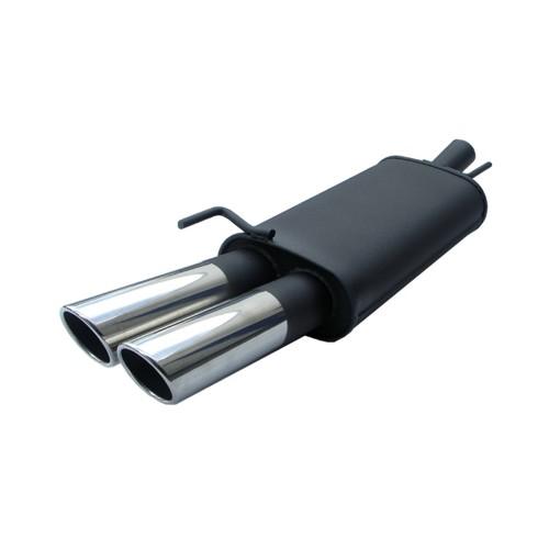 Endschalldämpfer, 2 x 76 mm, SR-Design, mit ABE passend für Opel Astra G Caravan 1,2/ 1,4/ 1,6/ 1,8/ 1,7 Diesel/ 2,0 Diesel 74kW/ 2,0-16V