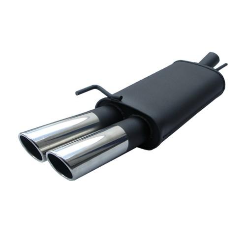 Endschalldämpfer, 2 x 76 mm, SR-Design, mit ABE passend für Seat Ibiza 6K 1,4/ 1,6/ 1,8/ 1,8T/ 2,0 GTI alle ab Bj. 1997 bis 1999