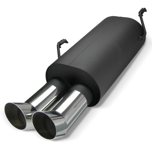 Steel Exhaust box with 2x 76mm DTM-Look tailpipes suitable for Peugeot 206 (Type 2)