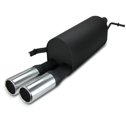 Steel Exhaust box with 2x 76mm tailpipes straight suitable for Skoda Fabia 6Y year 2000- und 5J year 2007-