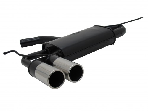 Steel Exhaust box with 2x 76mm tailpipes straight suitable for Seat Leon 1P year 07.05 - 12 and Audi A3 Sportback (8P) year 09.04 - 10.12