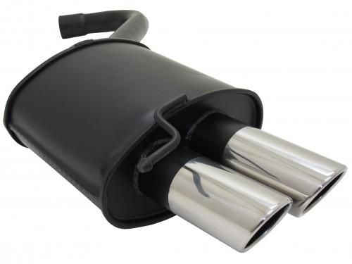 Stahl-Endschalldämpfer mit 2x 76mm Endrohren schräg passend für BMW 3er E90, E91 und E92 ab Bj. 2005-  Limousine und Touring