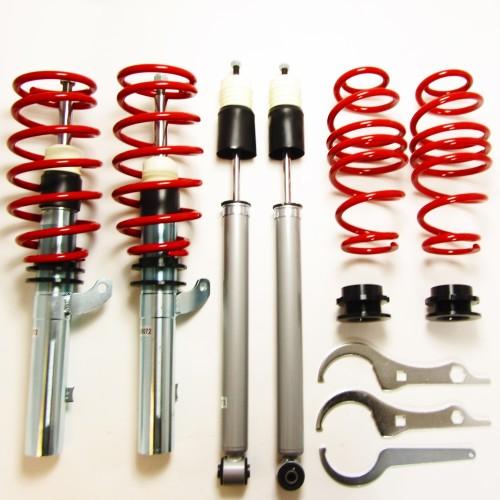 Redline Gewindefahrwerk, Komplett- oder Keilform-Tieferlegung, Gewinde/Gewinde, mit Teilegutachten passend für Seat Leon inkl. ST-Modelle (5F) 1.2 TSI, 1.4 TGI / TSi ab Baujahr 2012 nur passend bei Fahrzeugen mit Verbundlenker