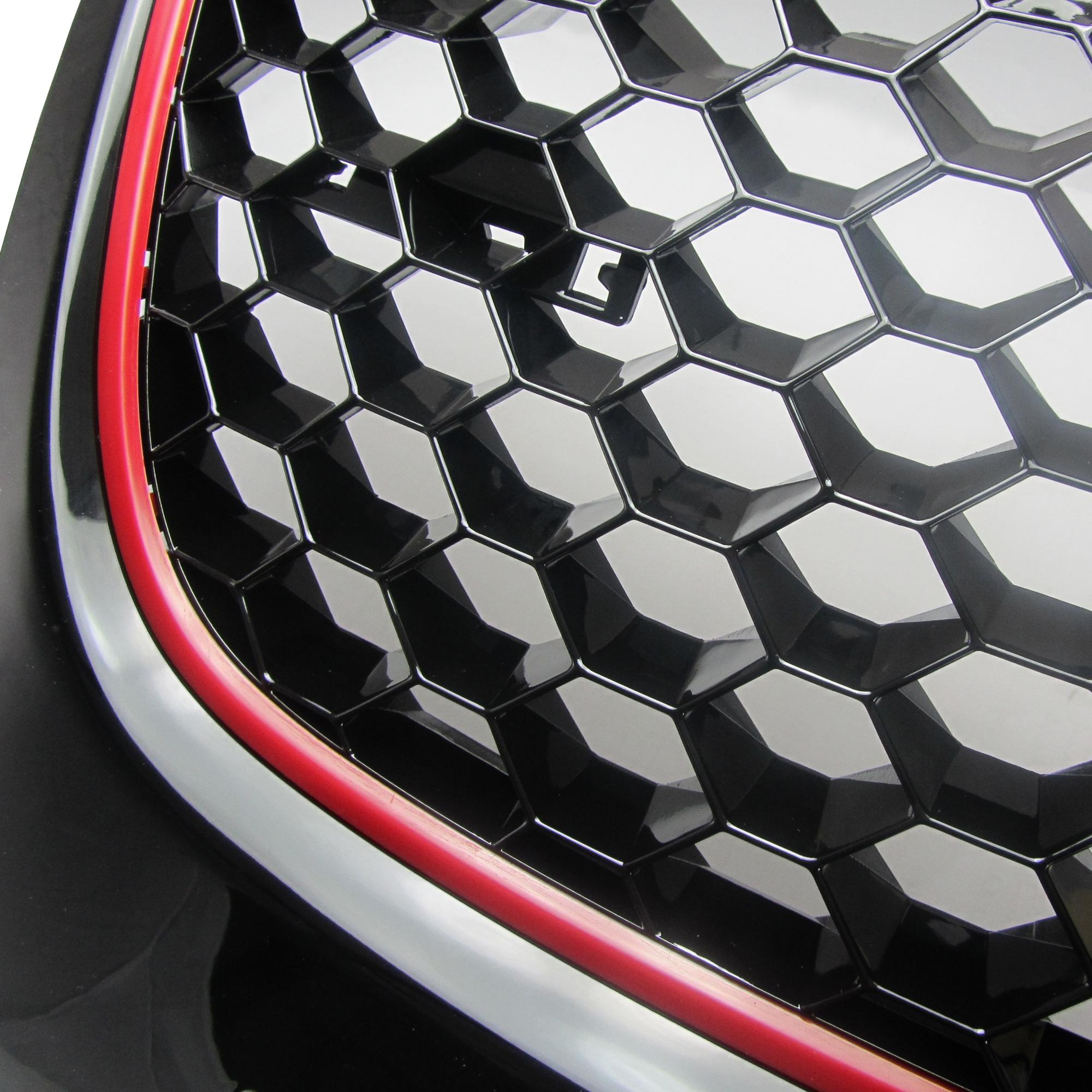 calandre jom vw golf 5 look gti grille nid d 39 abeille noir avec lis r rouge sans sigle. Black Bedroom Furniture Sets. Home Design Ideas