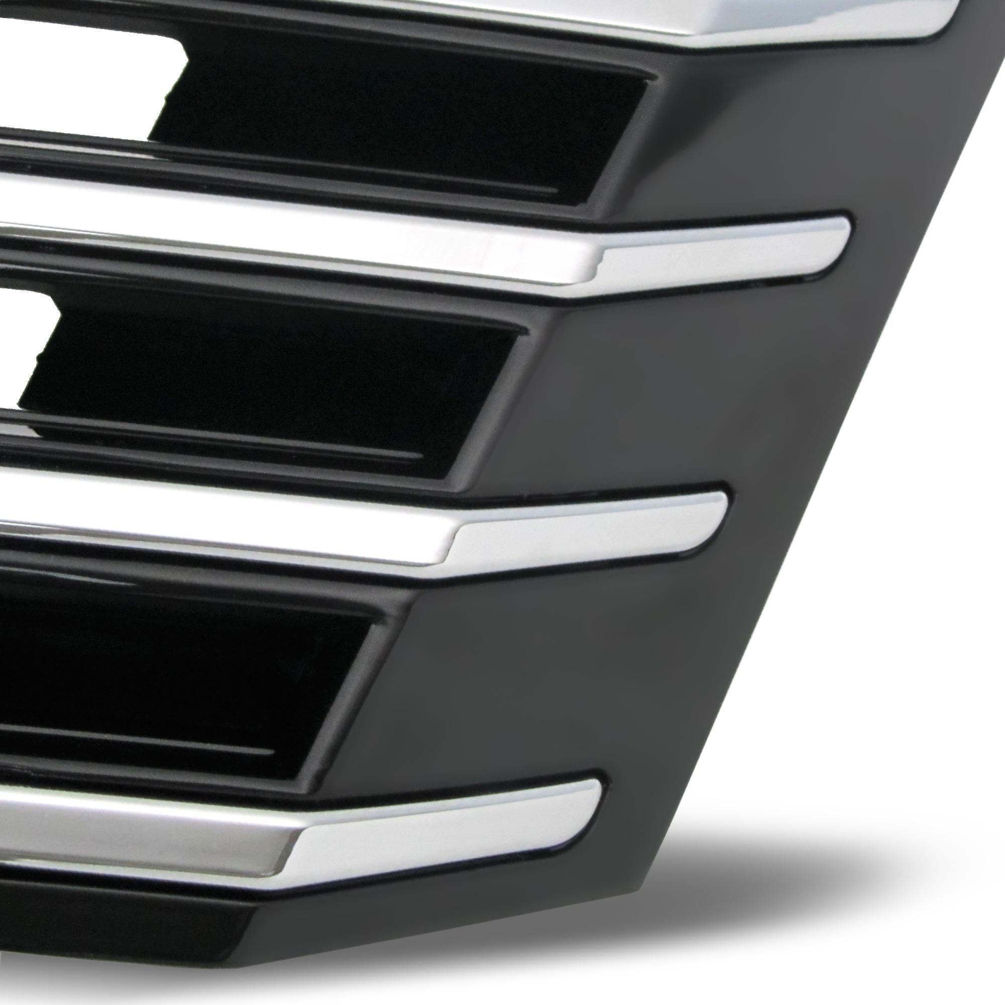 k hlergrill ohne emblem hochglanz schwarz mit chromleisten passend f r vw passat b7 typ 36 ab. Black Bedroom Furniture Sets. Home Design Ideas