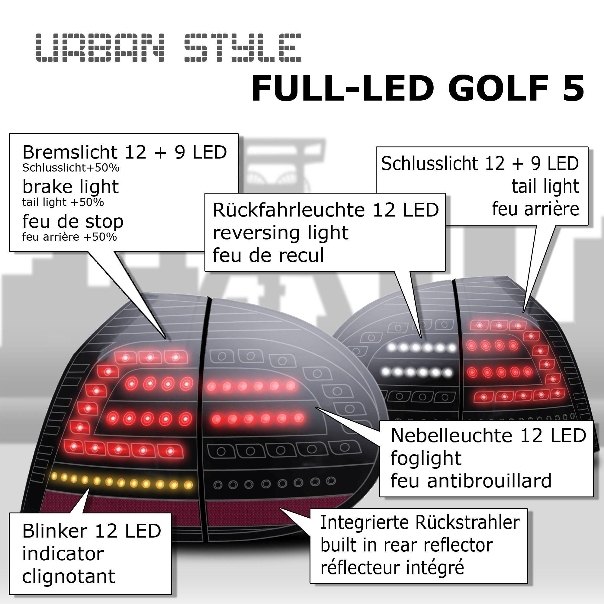 UrbanStyle Full-LED Rückleuchten komplett schwarz passend für VW ...