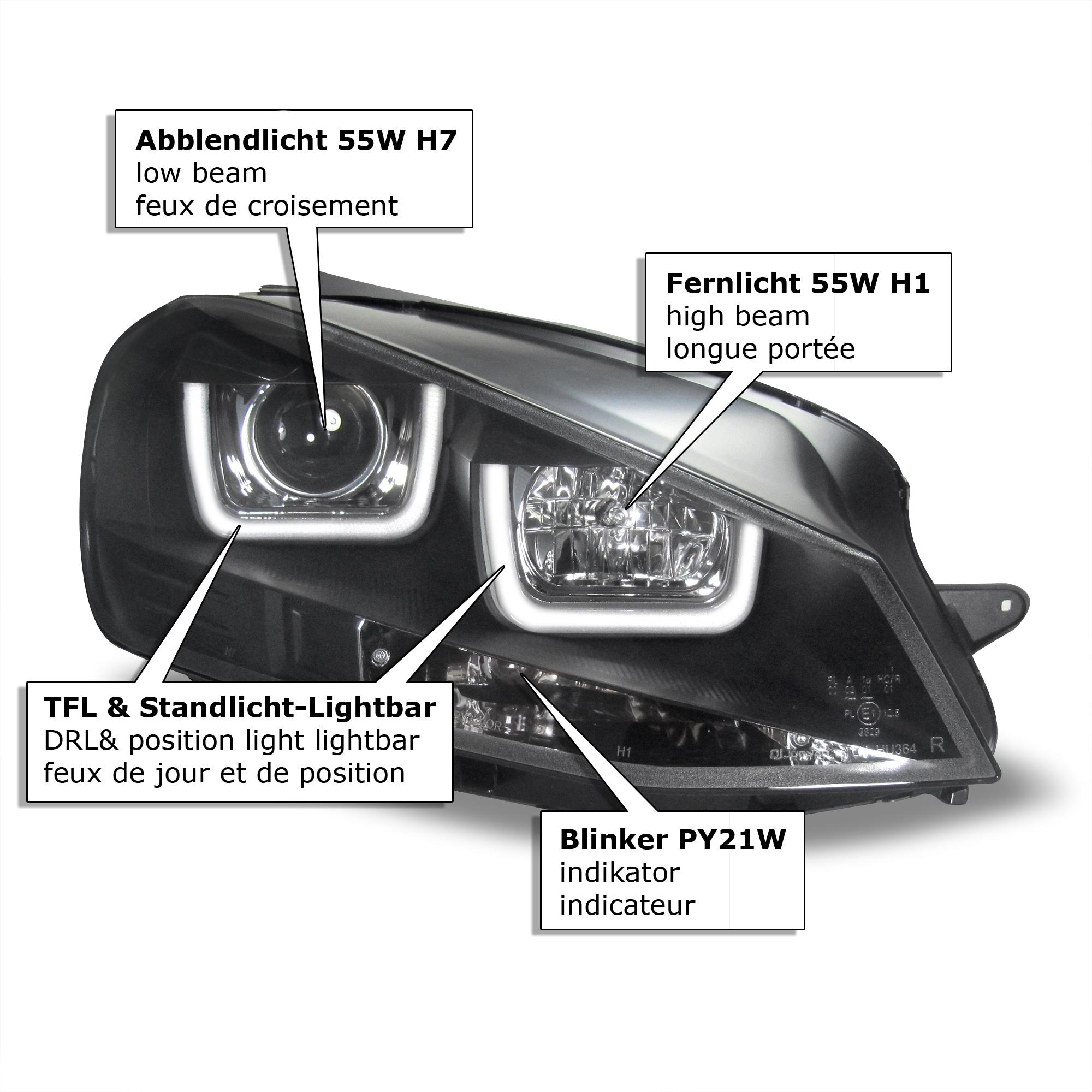 tagfahrlicht design lightbar scheinwerfer mit lwr passend. Black Bedroom Furniture Sets. Home Design Ideas