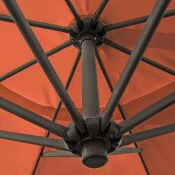 Ampelschirm, Sonnenschirm mit 350 cm Durchmesser in terracotta, Material Polyester 160G, wasserabweisend, Metallstreben, Neigungswinkel verstellbar, mit Kurbelsystem
